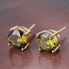 Vintage style 14K gold filled sweet peridot Eternity stud earring