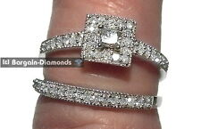diamond .52 carat bridal 10K gold princess engagement wedding band ring set