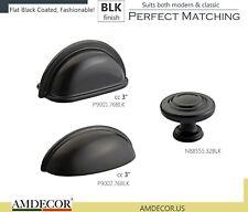 Amdecor Flat Black Coated Classic Cabinet Pull Cup Handle knob Hardware designer