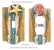 3D Nautical Coastal Tropical Beach Light Switch Plate Cover & Wall Plate Outlet