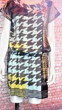 Retro 80s style silky blouson dress duck egg black lime gold 10 12 M&S new
