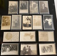 Lot of 15 Original Vintage Postcards - All RPPC - People, Families, Farm, Kids+