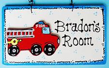 U Choose Name Personalize Fire Truck Sign Firetruck Wall Door Room Kid's Plaque