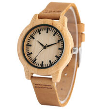 New Arrival Nature Wood Watches Leather Band Women Quartz Bamboo Wrist Braclet