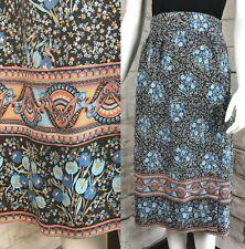Vintage 70s Floral Wrap Xs/S/M Prairie Midi Skirt Cotton Hippie 1970s Blue Tulip
