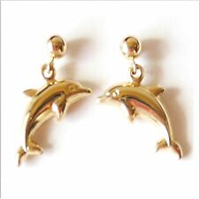 Dangle Earring. Length: 1 1/4� E2451-26 14K Solid Yellow Gold 3D Happy Dolphin