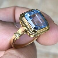 18K Yellow Gold Emerald cut Faceted AA Swiss blue Topaz 7.8 Carats size 9