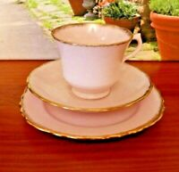 Royal Vale China Pale Pink Powdered Gilding Tea Set Trio