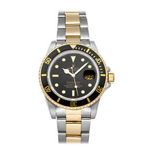 Rolex Submariner Date Auto Steel Yellow Gold Mens Oyster Bracelet Watch 16803