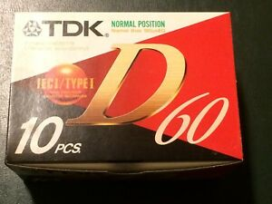 SCATOLA 10 X AUDIOCASSETTA TDK D 60  box with 10 x audio tape TDK D 60 sealed