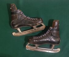 New listing Vintage CCM 2-Tone Leather Ice Hockey Skates, Size 7 1/2 , Black Burgundy