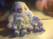 Vintage Anne Geddes Baby Bunnies Dolls in Bunny Suit lot