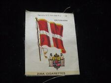 "Vintage Zira Cigarettes Denmark Danish Flag Tobacco Card Silk 2-1/2"" X 3-1/4"""