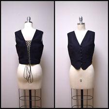 VINTAGE Goth AGATHA Black Linen Corset Fitted Vest w Open Lace Up Back Size XS/S