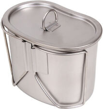 Stainless Steel Military Supply 1 Quart Campers Camping Canteen Cup with Lid