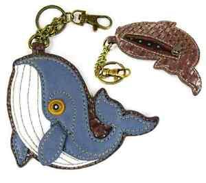 Chala Nautical Whale Key Chain Coin Purse Leather Bag Fob Charm New
