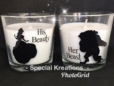Beauty and the Beast Set of Two Candles. Birthday Gift. Wedding. Christmas