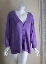 Talbots -2X Fine Lilac Purple 100% Linen Knit Beautiful Cardigan Sweater Jacket