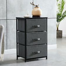 3 Tier Fabric Storage Cabinet Metal Frame Wood Top w/ Handle Organizer Dark Gray