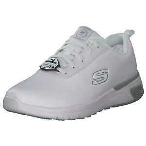SKECHERS for Work Scarpa da lavoro donna with memory foam, White, slip-resistant