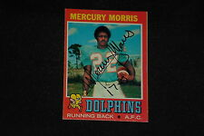 MERCURY MORRIS 1971 TOPPS ROOKIE SIGNED AUTOGRAPHED CARD #91 MIAMI DOLPHINS