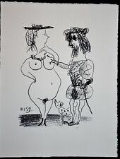 """Lithographie Pablo PICASSO  """" Le Seigneur et la Dame """" Souvenirs Fernand MOURLOT"""
