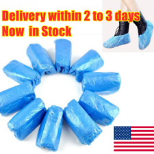 100x Waterproof Boot Shoe Covers Plastic Blue Overshoes Protector USA Stock