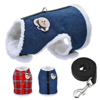 Fleece Padded Dog Vest Harness & Lead Pet Puppy Cat Clothes Chihuahua Pomeranian