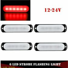 4x  6 LED Red Slim Flash Light Bars Car Vehicle Emergency Warning Strobe Lamps