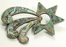 Vintage Mexico Taxco Beto Sterling Silver Abalone Chrysocolla Inlay Brooch Pin