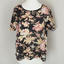 Topshop Floral Top T Shirt Scallop Hem Size Uk 10 Oversized Floaty Relaxed