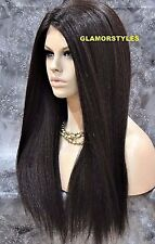 "30"" Long Straight Dark Brown Full Lace Front Wig Heat Ok Hair Piece #4 NWT"