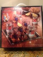 Game Night Tic Tac Toe Drinking Shot Glass Set with Mini Beer Mugs, NEW