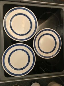 3 x Vintage Blue & White Staffordshire Ironstone Chef Ware Plate 25cm Diameter