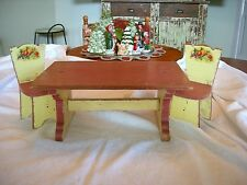 Vintage 1940's Painted Doll Child Trestle Table W/ Two Chairs Shabby!