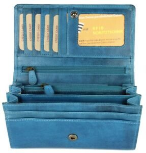 Hill Burry Vintage Leder Damen Geldbörse Portemonnaie hellblau 77701 Portmonee