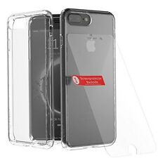 Luxury Apple iPhone 7+ Soft TPU Solid Back Case + Crystal Glass Screen Protector