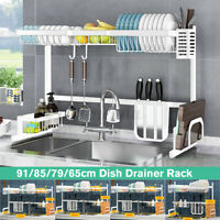 Stainless Steel Sink Dish Drying Rack Drainer Shelf Kitchen Cutlery Holder White