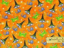 Toil & Trouble Witch Frog Pumpkins Orange Halloween Fabric by the 1/2 Yd  #6396