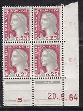 FRANCE PONT COIN DATE BLOC DE 4 TIMBRE NEUF N° 1263  *  TYPE MARIANNE DE DECARIS
