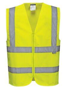 Portwest C375 Hi Vis Reflective Tape Zipped Tape & Brace Safety Vest Waistcoat