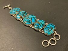 Big Handmade Turquoise & Copper Cabochon Sterling Silver 925 Toggle Bracelet B44
