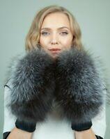 Merino Sheepskin Mittens Gloves with Silver Saga Fox Fur For Women