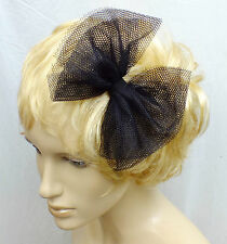 NEW CUTE 80s STYLE 6in BLACK TULLE GOTH NET PARTY FABRIC BOW HANDMADE HAIR HEAD