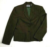 Women's Amanda Smith Suit Jacket Size 12p Green Pure Wool Dress Casual Blazer