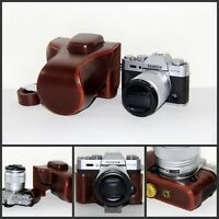 Coffee leather case bag for Fujifilm X-T30 camera w/ 16-50 or 18-55mm lens XT30