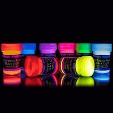 NOTTI al Neon UV ULTRAVIOLETTO     Black light in tessuto Fluorescenti Bagliore   VERNICE-SET