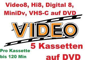 5 x Kassetten mit Überlänge Digital8, VHS-C, Video 8, Hi8, MiniDV  DVD Kopieren