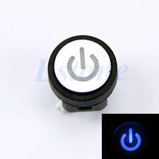 LED Light Power Symbol Momentary Latching Computer Case Switch Push Button Blue