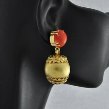 Delightful 14K Solid Gold  Rare Genuine Deep- salmon Color Coral Dangle Earrings